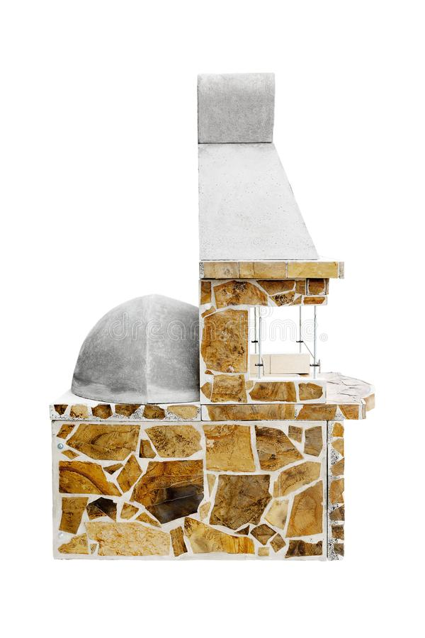 Barbecue Open Fireplace with Built-in Furnace for Cookout Food. Outdoor BBQ Grill. Open Summer Kitchen. Barbeque Grill. Unused Barbecue Open Fireplace with Built stock images