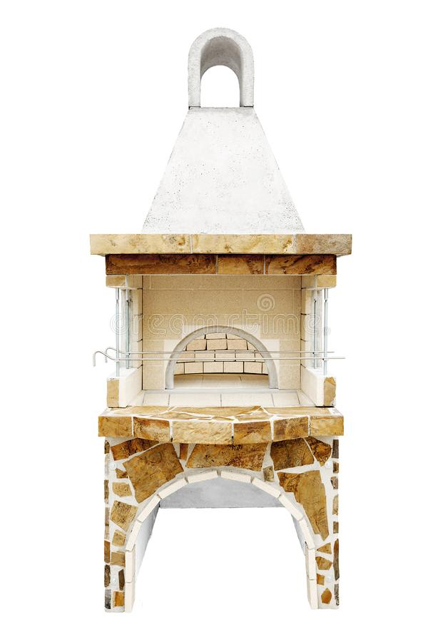 Barbecue Open Fireplace with Built-in Furnace for Cookout Food. Outdoor BBQ Grill. Open Summer Kitchen. Barbeque Grill. Unused Barbecue Open Fireplace with Built royalty free stock photo