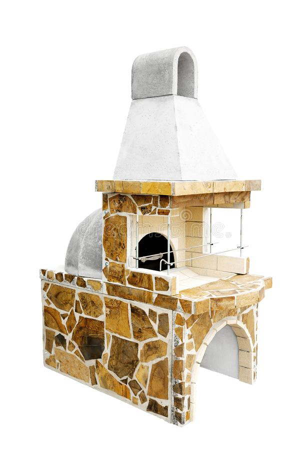 Barbecue Open Fireplace with Built-in Furnace for Cookout Food. Outdoor BBQ Grill. Open Summer Kitchen. Barbeque Grill. Unused Barbecue Open Fireplace with Built stock photography