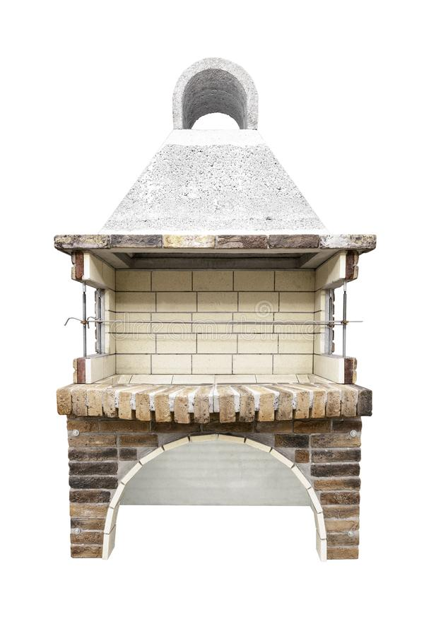 Barbecue Open Fireplace For Cookout Food. Outdoor BBQ Grill. Open Summer Kitchen. Barbeque Grill Made From Bricks On The. Unused Barbecue Open Fireplace For stock images