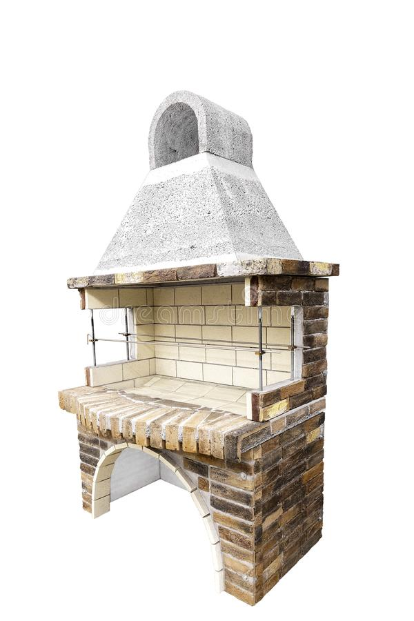 Barbecue Open Fireplace For Cookout Food. Outdoor BBQ Grill. Open Summer Kitchen. Barbeque Grill Made From Bricks On The. Unused Barbecue Open Fireplace For stock photography