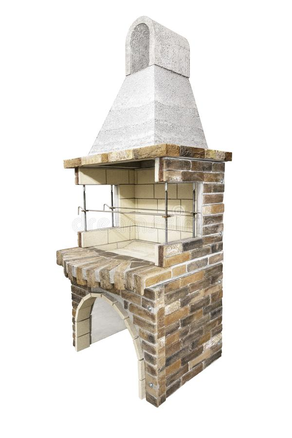 Barbecue Open Fireplace For Cookout Food. Outdoor BBQ Grill. Open Summer Kitchen. Barbeque Grill Made From Bricks On The. Unused Barbecue Open Fireplace For stock photos