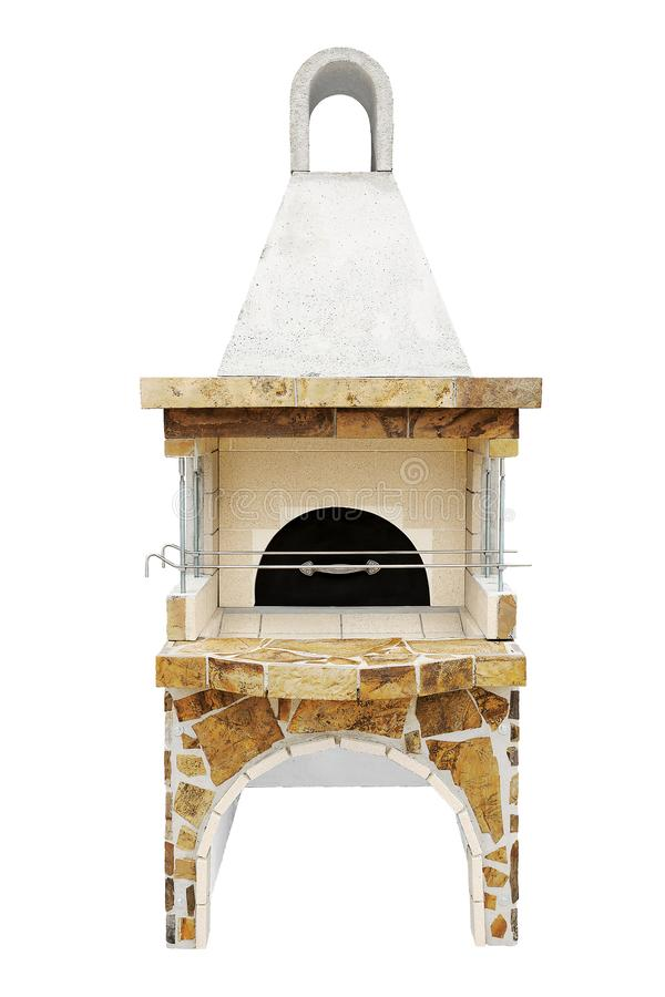 Barbecue Open Fireplace with a metal lid For Cookout Food. Outdoor BBQ Grill. Open Summer Kitchen. Barbeque Grill Made. Unused Barbecue Open Fireplace with a stock images