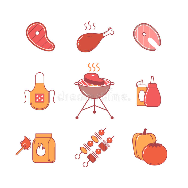 Barbecue, outdoor meat and fish steak grill frying. Barbecue and outdoor meat and fish steak grill frying thin line icons set. Modern flat style symbols isolated royalty free illustration