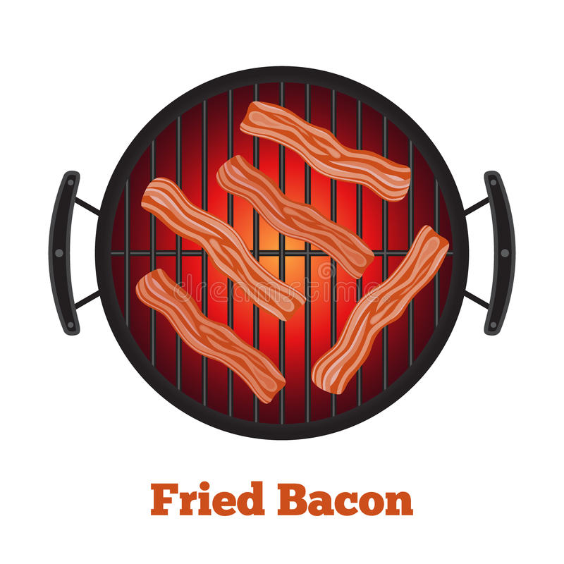 Barbecue pan with bacon, bbq party banner. Cartoon flat style. Barbecue pan with bacon, bbq party banner. Fried meat, sausages. Made in cartoon flat style stock illustration