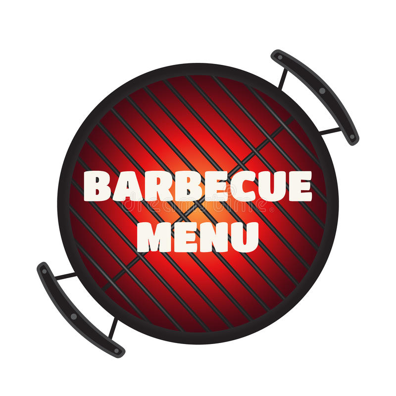 Barbecue pan, bbq menu, party banner. Made in flat style. Barbecue pan, bbq menu, party banner. Made in cartoon flat style stock illustration
