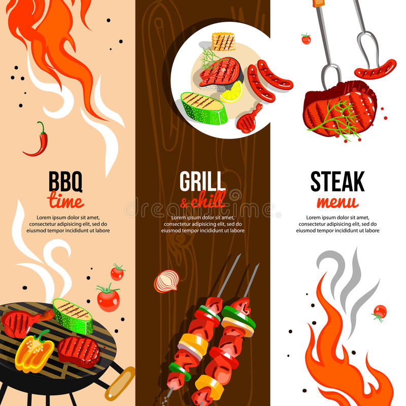 Free Barbecue Party 3 Vertical Banners Set Stock Photography - 74047982