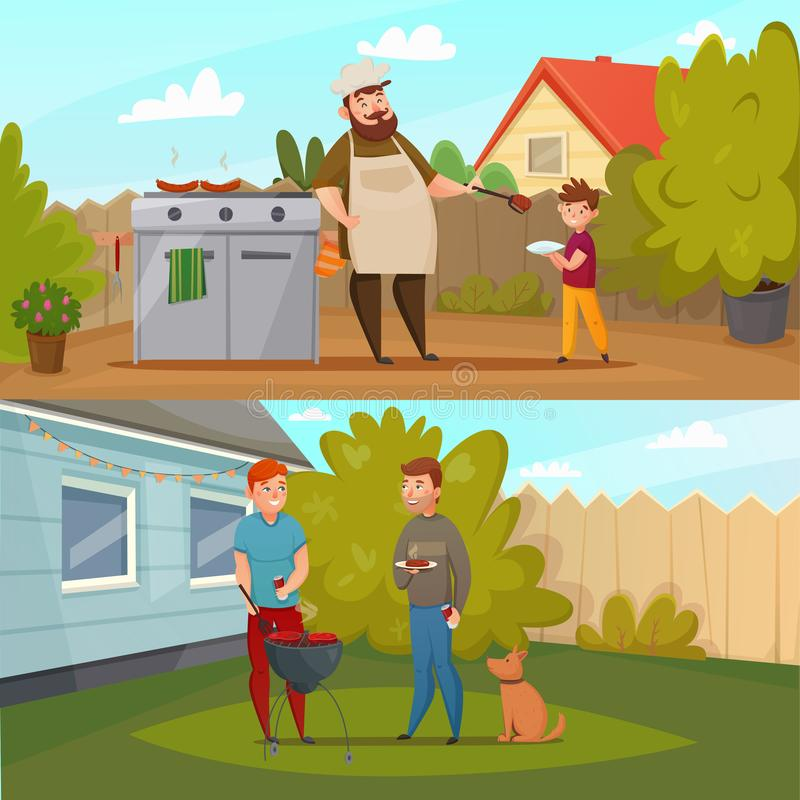Barbecue Party Banner Set. Two horizontal cartoon barbecue party banner set with people on the lawn bred BBQ vector illustration royalty free illustration