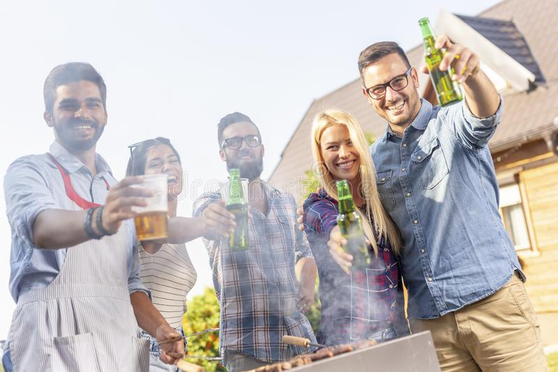 Barbecue party beer toast stock photo