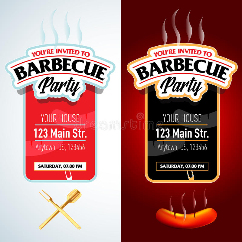 Barbecue party design, Barbecue invitation. Barbecue logo. BBQ template menu design. Barbecue Food flyer. Barbecue advertisement. stock illustration