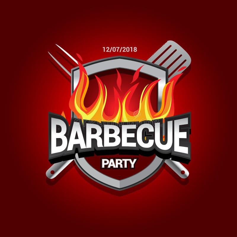 Barbecue party design with fire on shield, Barbecue invitation. Barbecue logo. BBQ template menu design. Barbecue Food flyer. stock illustration