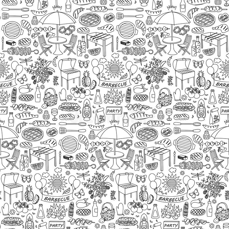 Barbecue party doodle seamless pattern royalty free illustration