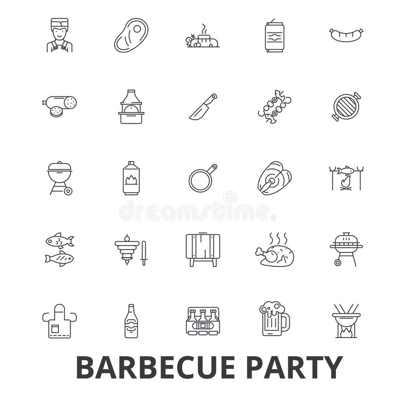 Barbecue party, grill, garden party, meat, picnic, barbecue food, fish, beer line icons. Editable strokes. Flat design royalty free illustration
