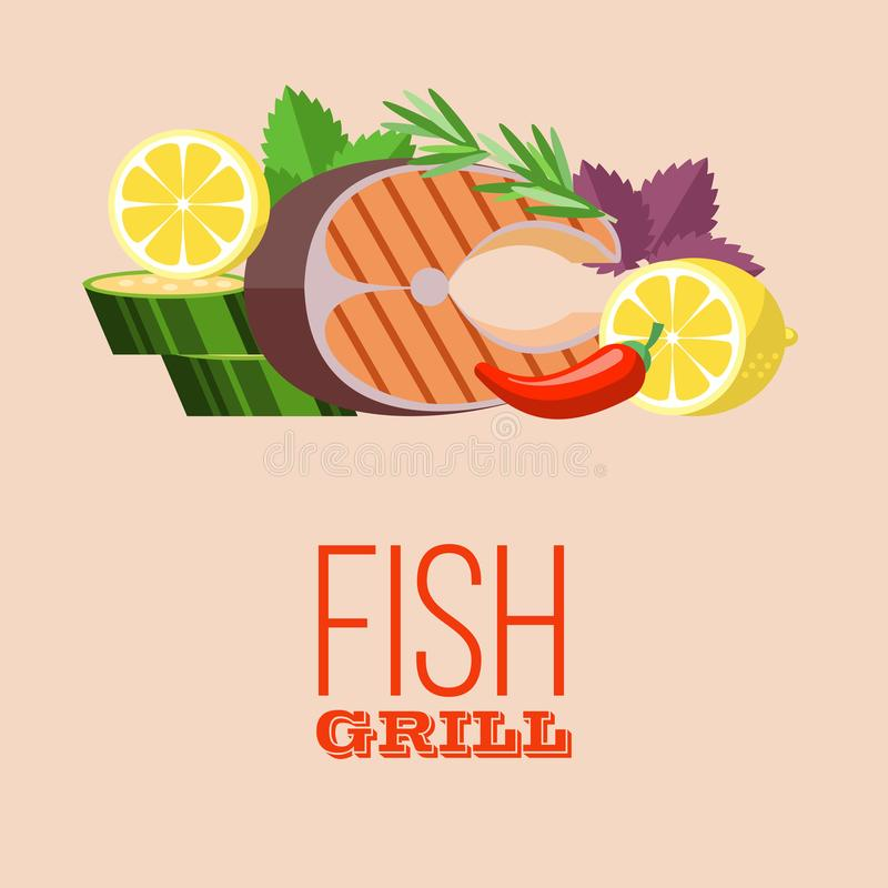 Barbecue party. Grilled fish and vegetables. Vector illustration vector illustration