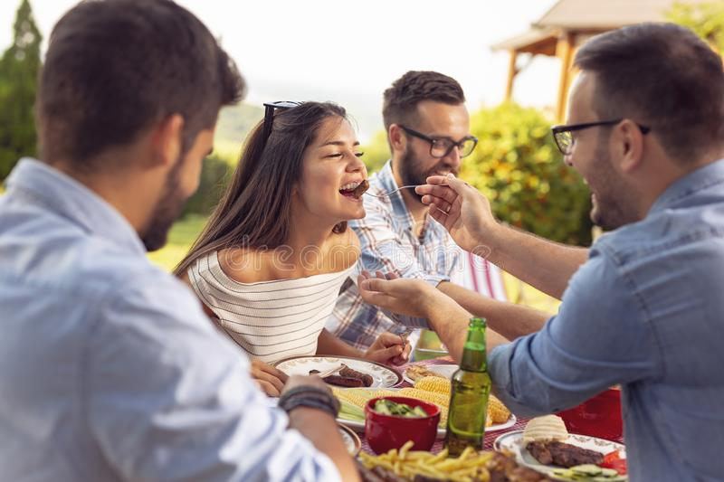 Barbecue party. Group of friends having an outdoor barbecue lunch, eating grilled meat, drinking beer and having fun royalty free stock photo