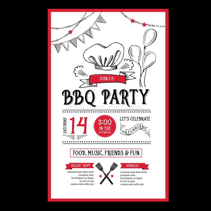 barbecue party invitation  bbq template menu design  food flyer  stock vector