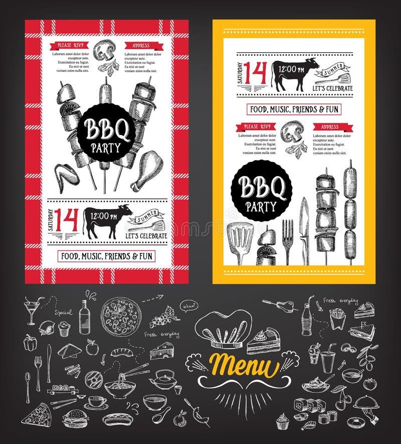 Barbecue party invitation. BBQ template menu design. Food flyer. vector illustration