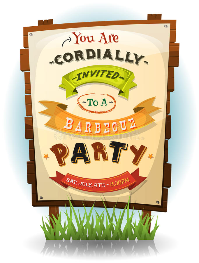 Barbecue Party Invitation On Wood Sign stock illustration