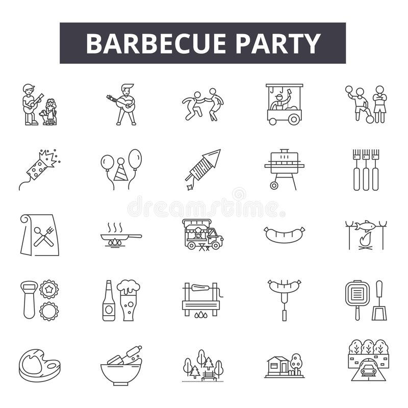Barbecue party line icons, signs, vector set, outline illustration concept vector illustration