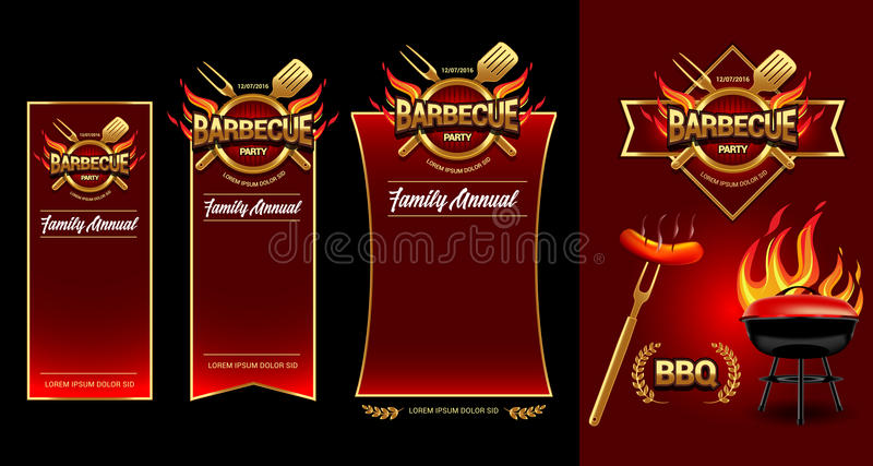 Barbecue party logo, party banner, invitation template. BBQ brochure menu design.Vector illustration. stock illustration