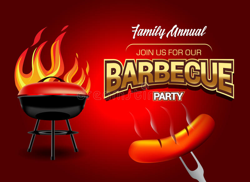 Barbecue party logo, party invitation template. Vector illustration. royalty free illustration