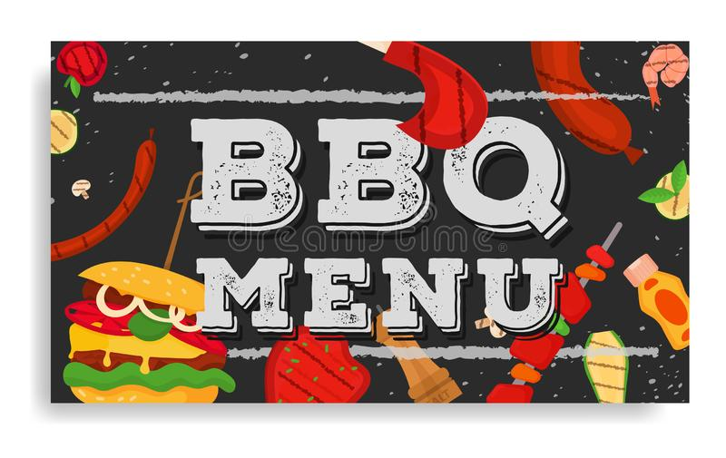 Barbecue party, menu, invitation design. BBQ. Modern vector barbecue menu cover design rectangle template. Trendy BBQ cookout poster, web banner, cover, roll up royalty free illustration