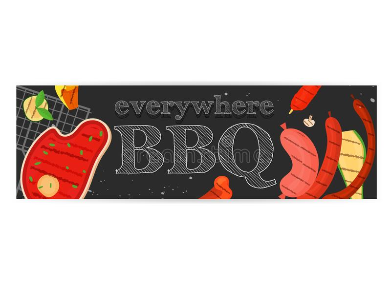 Barbecue party, menu, invitation design. BBQ. Modern vector barbecue party, menu, invitation design template. Trendy BBQ cookout poster, web banner, cover design royalty free illustration