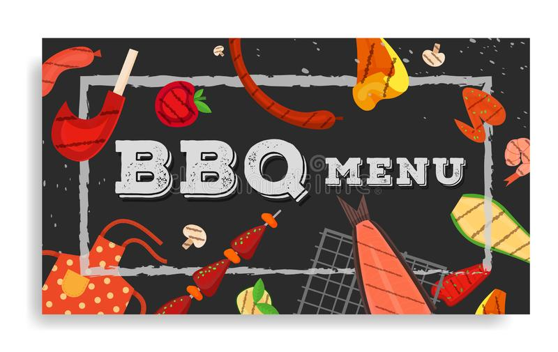 Barbecue party, menu, invitation design. BBQ. Modern vector barbecue menu cover design rectangle template. Trendy BBQ cookout poster, web banner, cover, roll up stock illustration