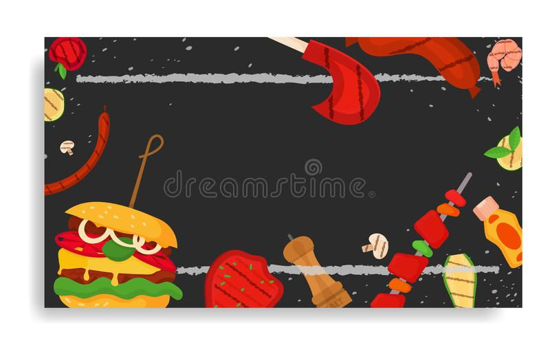Barbecue party, menu, invitation design. BBQ. Modern vector barbecue party, menu, invitation design rectangle template. Trendy BBQ cookout poster, web banner vector illustration