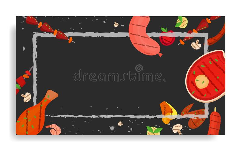 Barbecue party, menu, invitation design. BBQ. Modern vector barbecue party, menu, invitation design rectangle template. Trendy BBQ cookout poster, web banner stock illustration