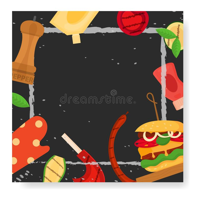 Barbecue party, menu, invitation design. BBQ. Modern vector barbecue party, menu, invitation design square template. Trendy BBQ cookout poster, web banner, cover vector illustration