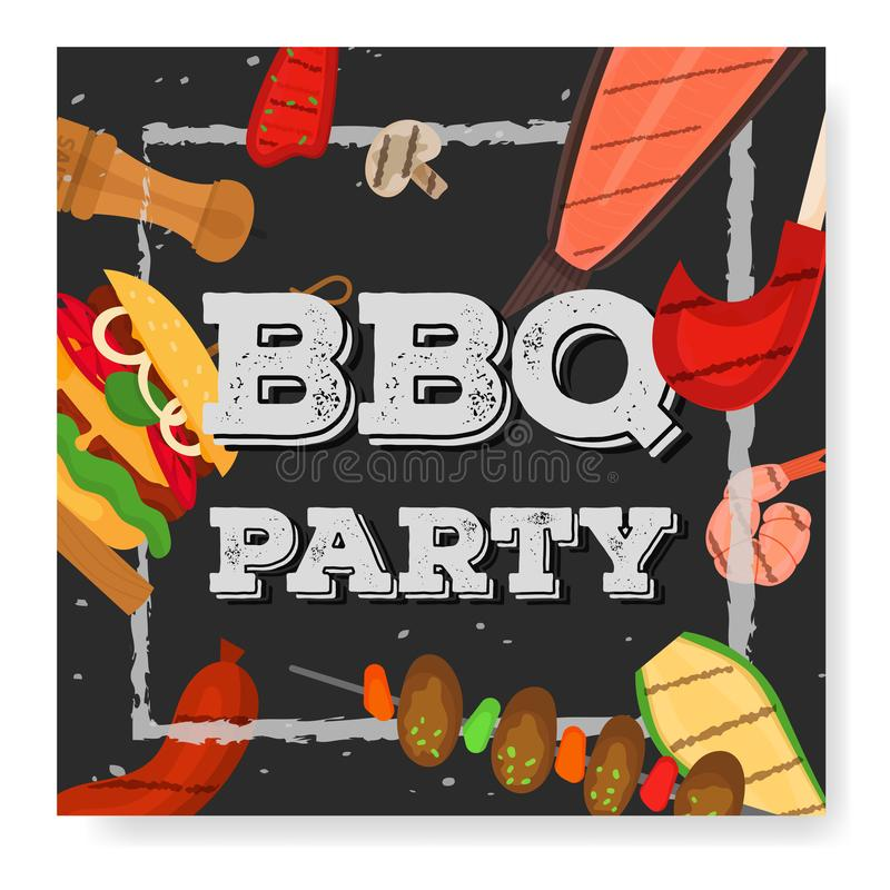 Barbecue party, menu, invitation design. BBQ. Modern vector barbecue party invitation design square template. Trendy BBQ cookout poster, web banner, cover design vector illustration