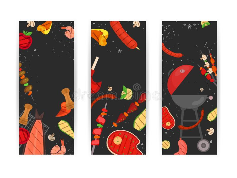 Barbecue party, menu, invitation design. BBQ. Modern vector barbecue party, menu, invitation design template set. Trendy BBQ cookout poster, web banner, cover royalty free illustration