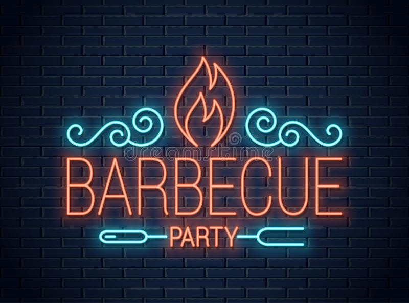 Barbecue party neon sign. BBQ neon logo on wall stock illustration