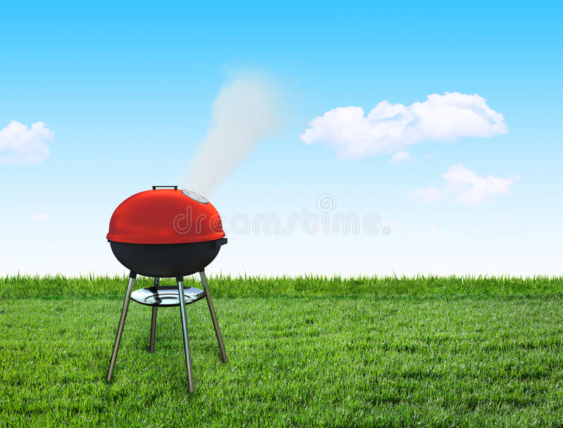 Barbecue picnic on backyard. A barbecue picnic on backyard stock illustration