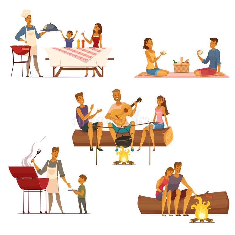 Barbecue Picnic Retro Cartoon Icons Set. Barbecue picnic outdoor weekend with family and friends 5 retro cartoon compositions icons isolated vector illustration royalty free illustration
