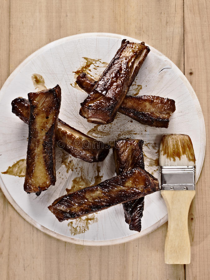 Barbecue pork ribs. Close up of barbecue pork ribs royalty free stock images