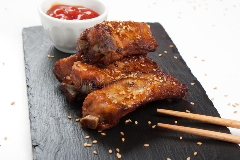 Barbecue pork ribs with sesame royalty free stock photos