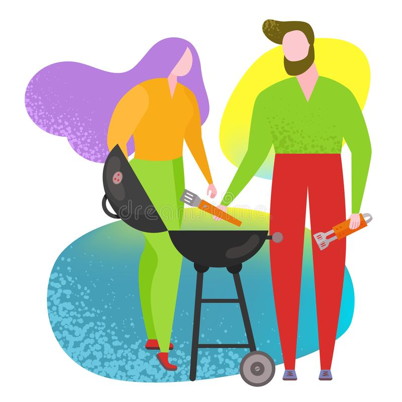 Barbecue poster people cooking grilled. People cooking BBQ street food poster. Vector trendy naive style whimsical figure, characters drawing flat, funky, like stock illustration