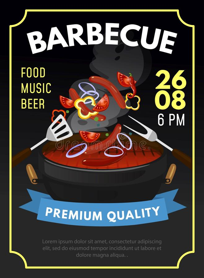 Barbecue poster template. BBQ summer invitation with grilled meat and vegetables. Vector illustration vector illustration