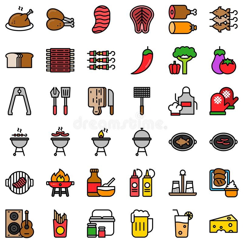 Barbecue related vector icon set, filled style editable stroke vector illustration
