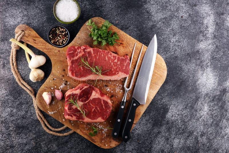 Barbecue Rib Eye Steak, droog Oud Wagyu-Entrecôtelapje vlees stock foto