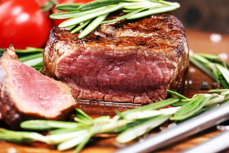 Barbecue Rib Eye Steak - Dry Aged Wagyu Entrecote Steak. Barbecue Rib Eye Steak. Black Angus Prime meat steaks Machete, Striploin, Rib eye, Tenderloin fillet stock photo