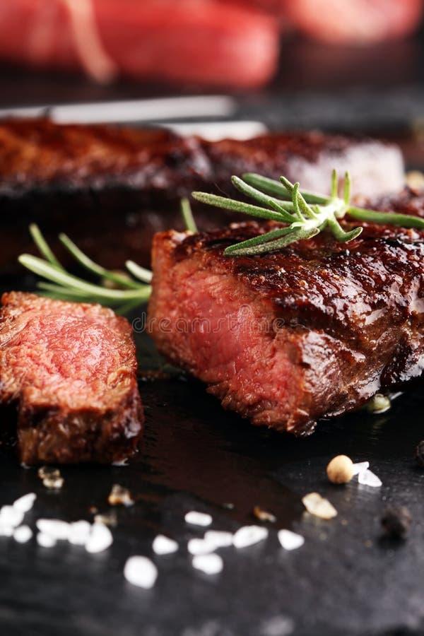 Barbecue Rib Eye Steak or rump steak - Dry Aged Wagyu Entrecote. Steak stock photo