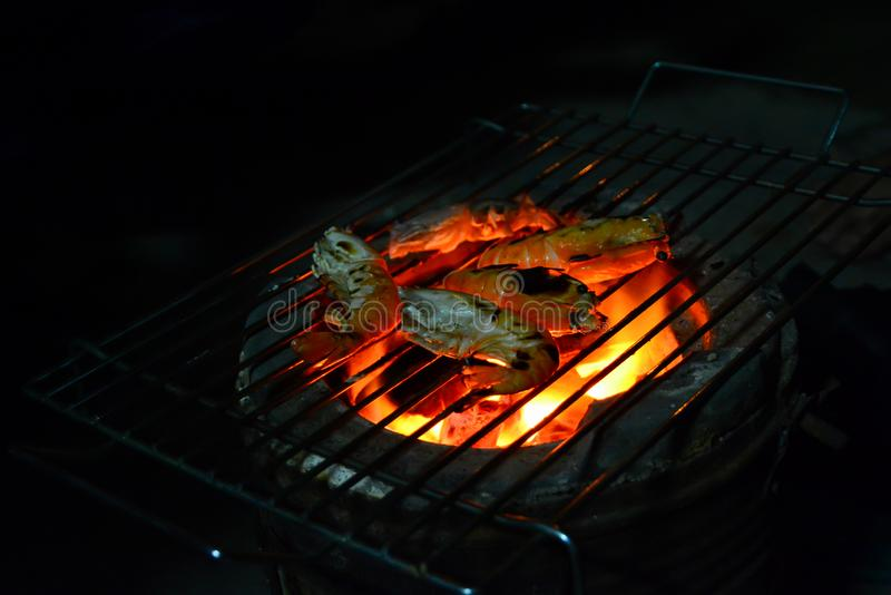 Barbecue river shrimp royalty free stock photography