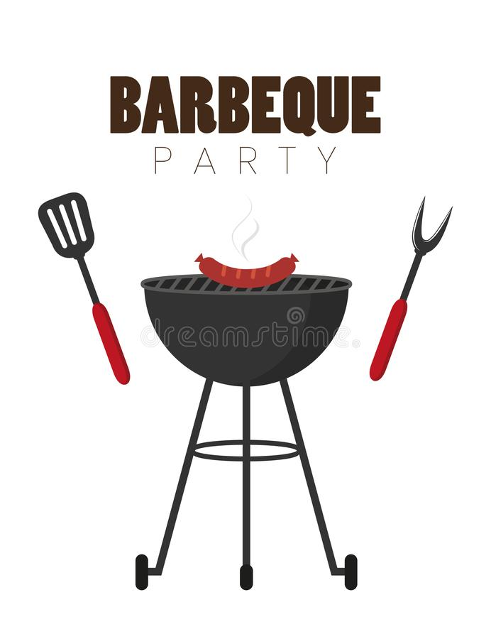 Barbecue rouge de bouilloire de partie de BBQ avec des saucisses et des couverts de gril illustration stock