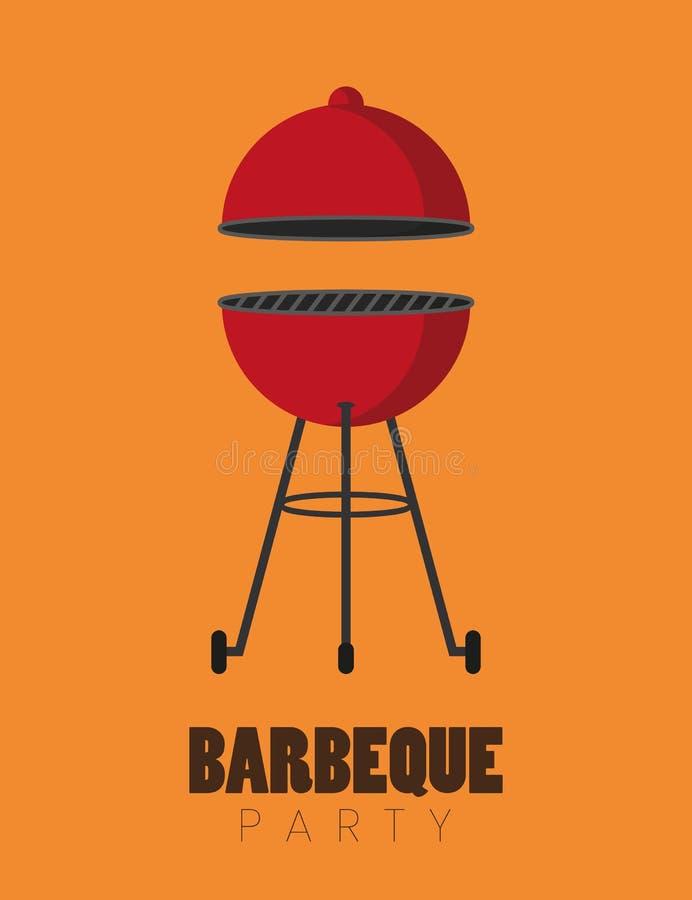 Barbecue rouge de bouilloire de partie de BBQ illustration libre de droits