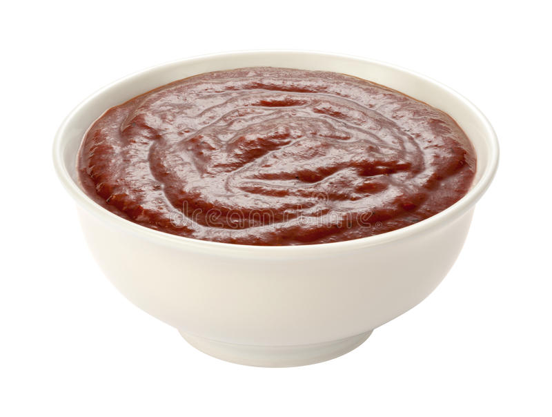 Barbecue Sauce iosolated. Barbecue Sauce in a white bowl, isolated on white with a clipping path. The isolation is on a transparent background in the PNG format royalty free stock photography