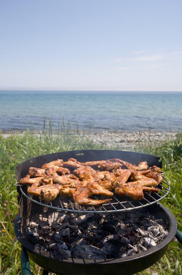 Barbecue & sea stock photo