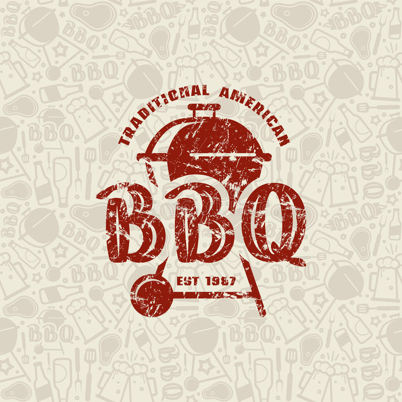 Barbecue seamless pattern and emblem stock illustration